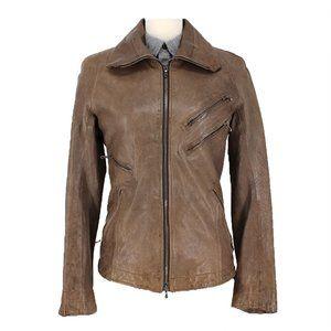 JULIUS 7 Olive Green Lamb Leather Zip Jacket 1 S